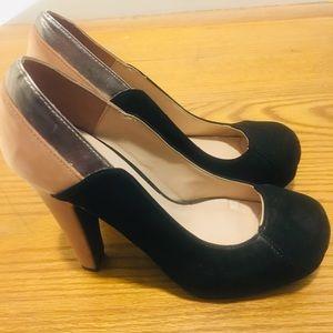 Black cream heels